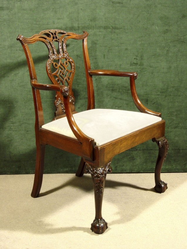 A Finely Carved George Iii Mahogany Open Armchair Hyde