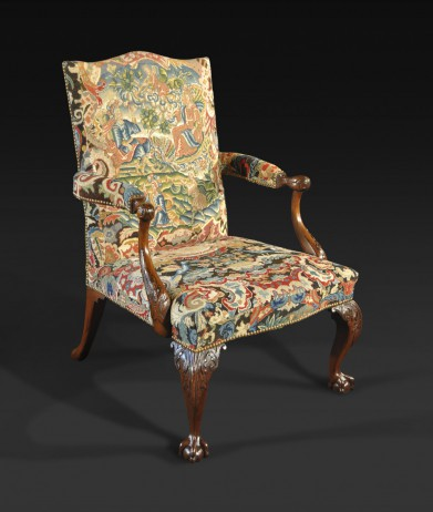 A George Ii Mahogany And Needlework Upholstered Library