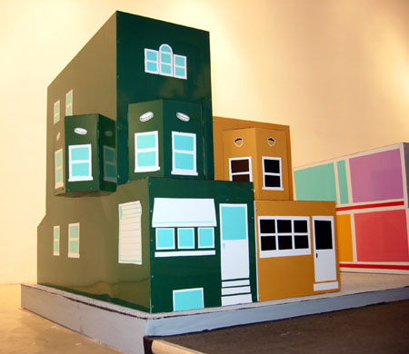 Two-story Row-home, 2003 Enamel on aluminum. 24 x 44 x 14 inches  Three-story Row-home Enamel on aluminum. 36 x 44 x 14 inches Waste Handlers Lotto Luck Beauty Supply OK Assurance