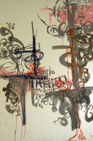 Focused Energy, 2003 Acrylic and spraypaint on canvas 36 x 24 inches