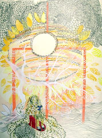 "SIMONE SHUBUCK Overgrown Ashbury Man by Prickly Pear Arbor 2005 mixed media on paper 30"" x 22"""