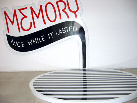 """Memory"", 2003 Enamel on aluminum. 2 Parts (1) 27"" x 32""/ (1) 30"" in diameter"