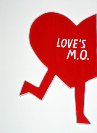 """Love's M.O."", 2003 Enamel on aluminum. 21 x 13 inches"
