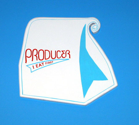 """Producer (Lunch)"", 2003 Enamel on aluminum. 21 x 20 inches"