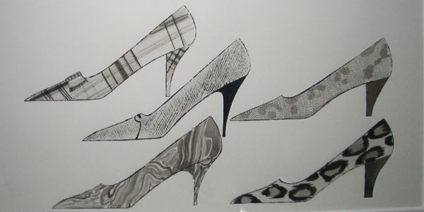 Five Shoes, c.1960 Ink and wash on Strathmore paper 14 x 22 inches