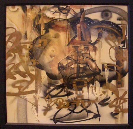 """OG"" 2003 Oil, spray paint, polyurethane, and insects on canvas 39 1/2 x 39 1/2 inches framed"