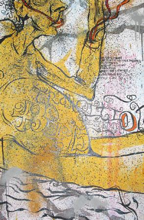 Kitty Hawk Kid, 2003 Acrylic and spraypaint on wood 36 x 24 inches