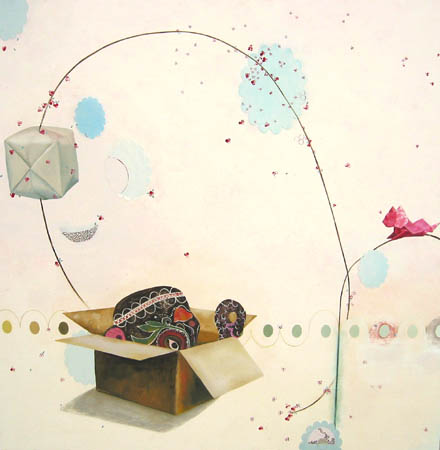 """Gift"". 2003 Oil, ink, acrylic & paper collage on wood 48 x 48 inches"