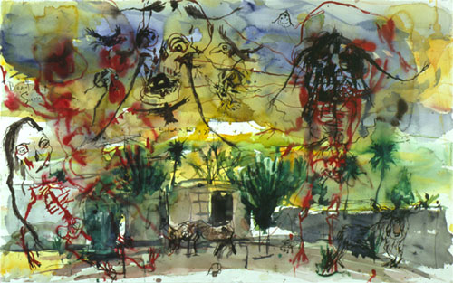 BRAD KAHLHAMER Beautiful Sunset 2002 Ink and watercolor on paper 26 x 40 1/2 inches photo courtesy of Deitch Projects