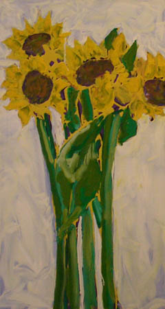 """Sunflowers"" 48 x 24 inches 2004"