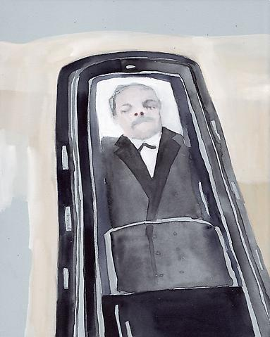 "Man in a Coffin, 2010 Gouache 10"" x 8"""