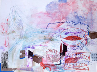 TIM LOKIEC Cassiopia-Hydra 2006 mixed media on paper 38 x 50 inches
