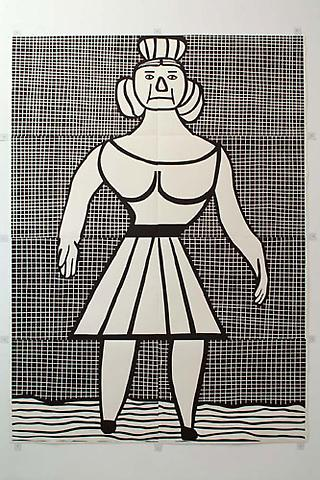 CHRISTOPH RUCKHÄBERLE Untitled (Woman 1) 2006 Edition of 20 Linocut 105 x 77 inches