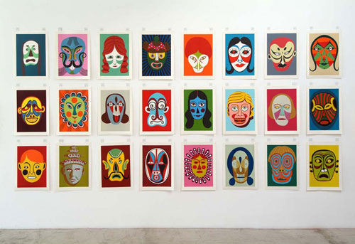CHRISTOPH RUCKHÄBERLE Wall of Masks 2006 Edition of 20 Linocut 19 1/4 x 27 1/2 inches each (set of 24)