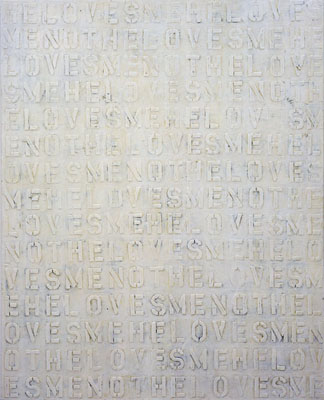 "NINO MIER ""He Loves Me…"", 2004  60 x 48 inches Liquid latex and enamel on canvas"
