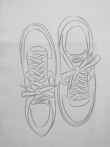 Nike Sneakers, 1985 Graphite on HMP paper 31 5/8 x 23 1/2 inches