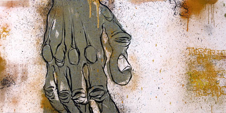 Portrait of Spirit # 415430, 2003 Acrylic and spraypaint on wood 24 x 48 inches