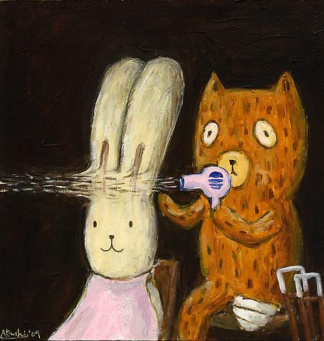 Kumacchi dries Usacchi's hair with a pink hairdryer Acrylic on panel 23 x 22.2 cm 2009