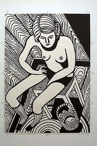 CHRISTOPH RUCKHÄBERLE Untitled (Woman 2) 2006 Edition of 20 Linocut 105 x 77 inches