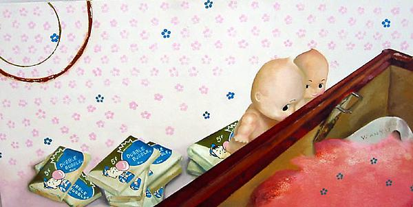 """Look"", 2003 Oil and acrylic on birch wood. 9-3/4 x 19-1/2 inches"