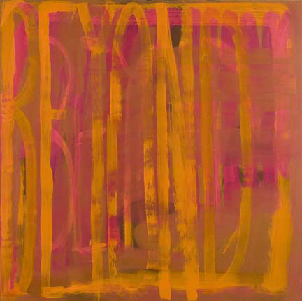 "DANA FRANKFORT BEYOND (orange pink rust) 2006 Oil on panel 48""x48"""