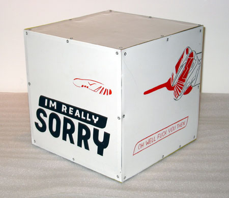 """Apology Declined"", 2003 Enamel on aluminum with motor 12 inch cube"