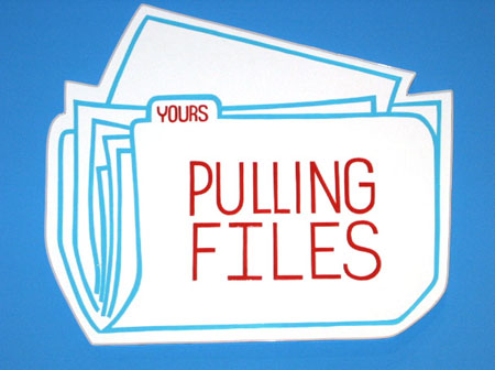 """Pulling Files"", 2003 Enamel on aluminum. 26 x 31 inches"