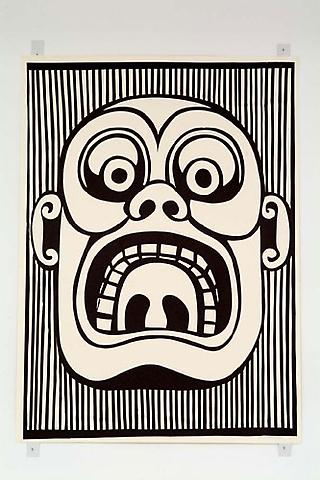 CHRISTOPH RUCKHÄBERLE Untitled (Mask 2) 2006 Edition of 20 Linocut 55 x 39 1/2 inches
