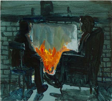 "EZRA JOHNSON ""Untitled"" (Fireplace) 2006 Mixed media on panel 15 x 16 3/4 inches"