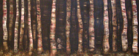 Silent Dance, 2004 Acrylic and oil on wood 23 3/4 x 55 1/2 inches