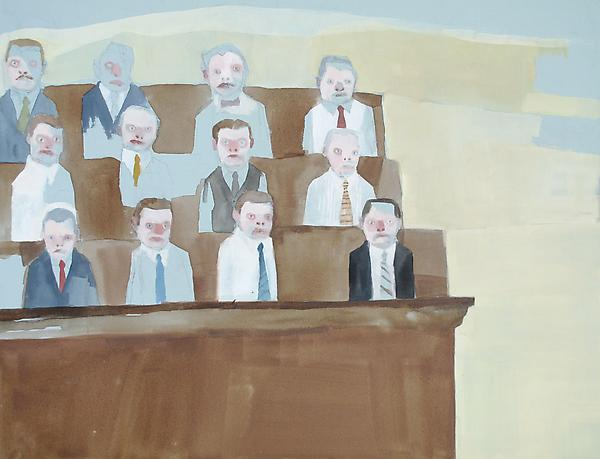 "Jury, 2010 Gouache and graphite 16"" x 20"""