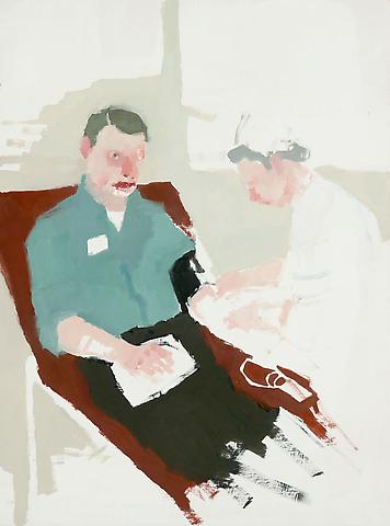 "Blood Draw with Nurse, 2010 Oil on panel 16"" x 12"""