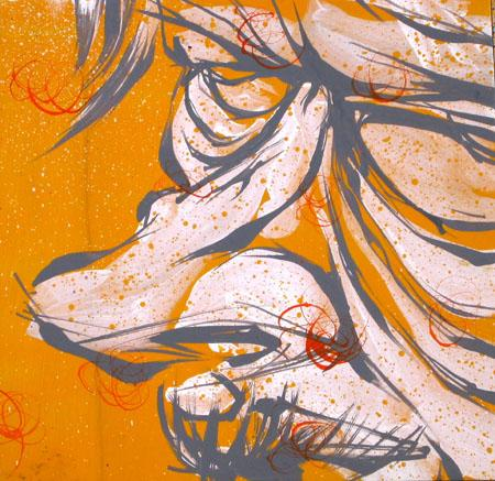Untitled, 2003 Acrylic and spraypaint on wood 12 x 12 inches