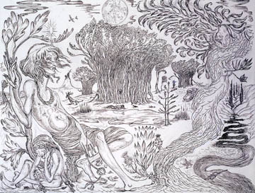 "CHRIS HAMMERLEIN Inamorata 2005 ink and graphite on paper 38"" x 50"""