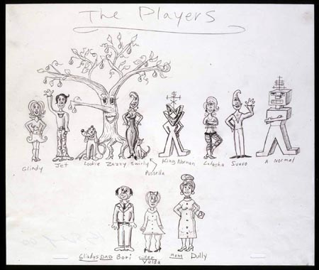"""The Players"", 2000 Pencil on paper 10 1/2 x 12 1/2 inches"