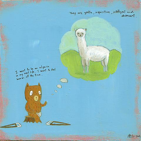 I want to be an alpaca Acrylic on board 20 x 21 cm 2009