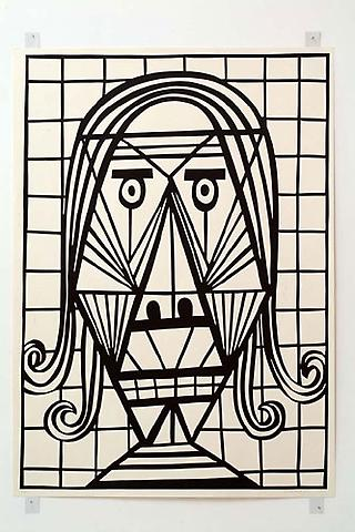 CHRISTOPH RUCKHÄBERLE Untitled (Mask 3) 2006 Edition of 20 Linocut 55 x 39 1/2 inches