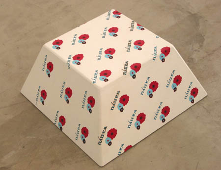 Candy Tuffet (Small - Wanyu), 2003 Oil and acrylic on birch wood. 30L x 30W x 15H inches