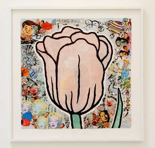 DONALD BAECHLER Bling Bee Tulip (for AW), 2007 36 x 36 inches Gouache, gesso, and paper collage on paper Courtesy of the artist