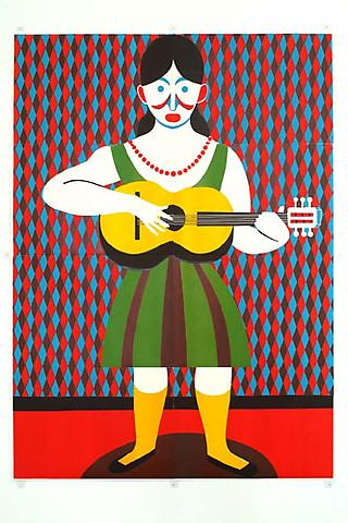 CHRISTOPH RUCKHÄBERLE Untitled (Guitar Player) 2006 Edition of 20 Linocut 105 x 77 inches