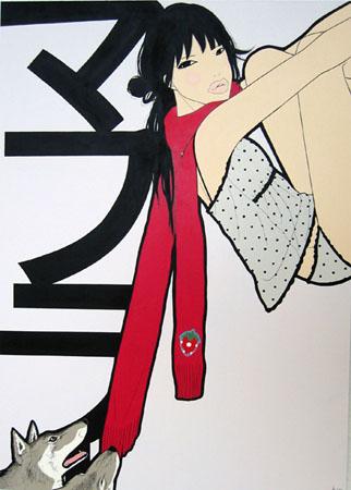 """Muffler"", 2004 Acrylic on illustration board 21 x 15 inches"