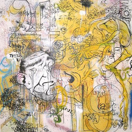 Starcatcher, 2003 Acrylic and spraypaint on canvas 60 x 60 inches