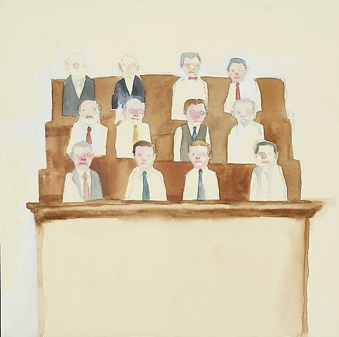 "Jury, 2010 Gouache and graphite 12"" x 12"""