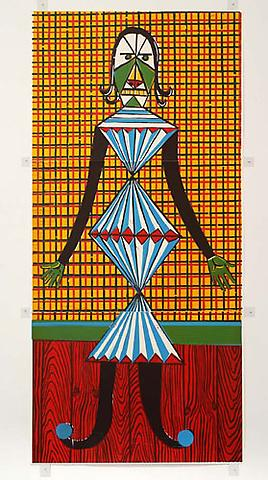 CHRISTOPH RUCKHÄBERLE Untitled (Strange Man) 2006 Edition of 10 Linocut 82 x 38 1/2 inches