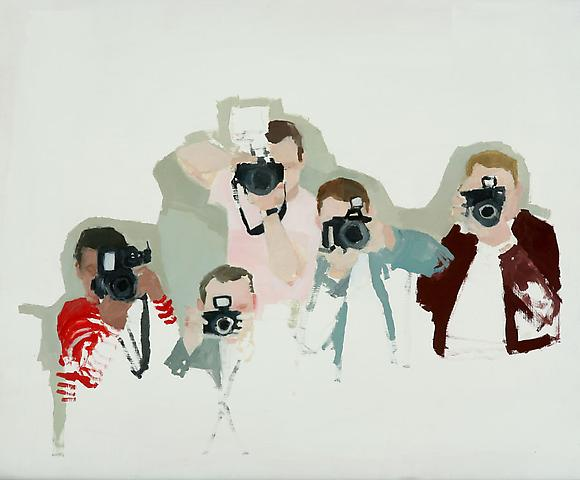"Paparazzi, 2010 Oil on panel 18"" x 22"""