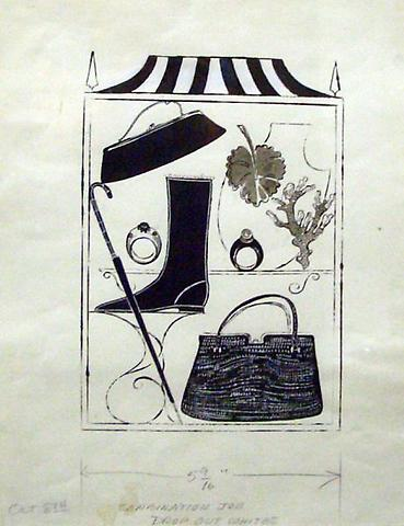 Multiple Clothing Accessories, 1958 Ink and tempra on Strathmore paper 20 x 14 1/2 inches