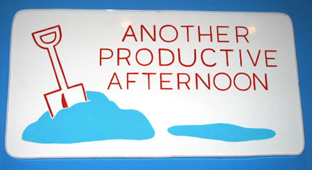 """Another Productive Afternoon"", 2003 Enamel on aluminum. 14-1/2 x 27-1/2 inches"