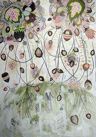 "SIMONE SHUBUCK Gino Wallpaper Field 2005 mixed media on paper 38"" x 27.5"""