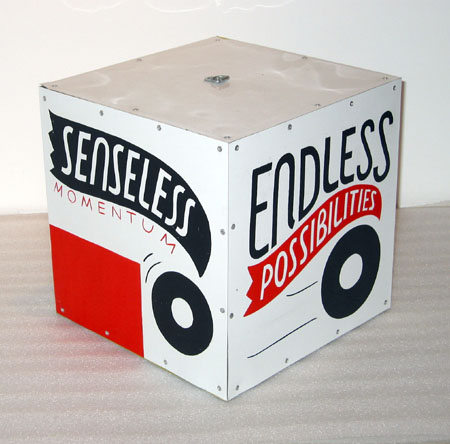 """Senseless Momentum"", 2003 Enamel on aluminum. 12 inch cube"