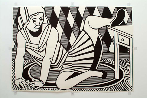 CHRISTOPH RUCKHÄBERLE Untitled (Woman 3) 2006 Edition of 20 Linocut 54 x 77 inches